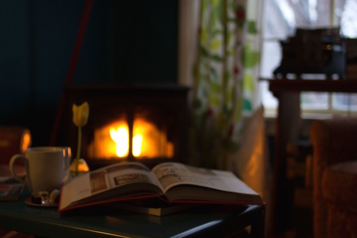 Book Reading by the Fireplace with CBD Edibles